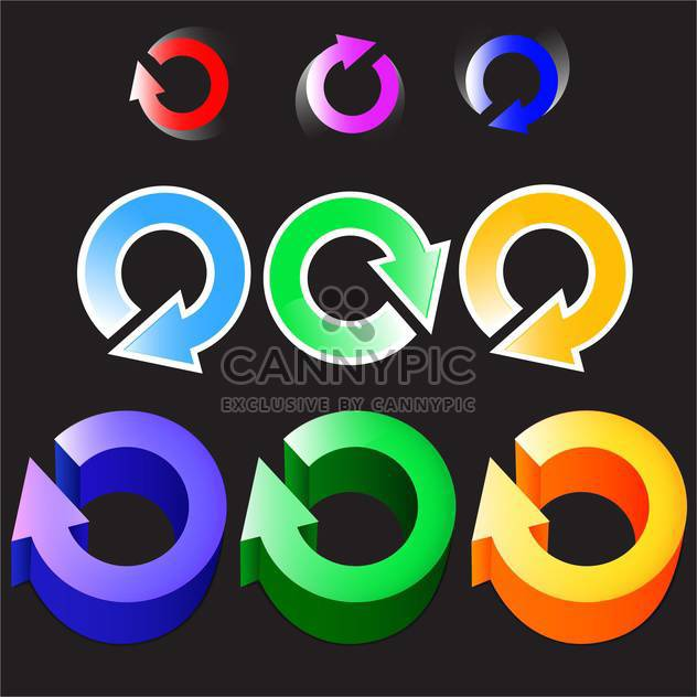 vector set of circular color arrows logos - Free vector #130634