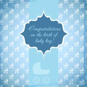 vector blue card with baby carriage - vector gratuit #130664