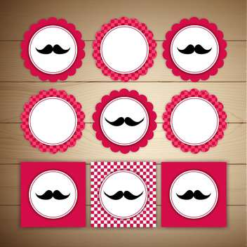Vector retro mustache vintage fancy labels on brown background - Free vector #130674