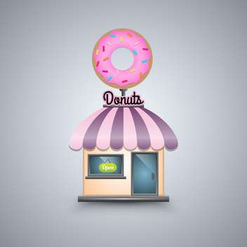 Vector illustration of donut shop on grey background - бесплатный vector #130694