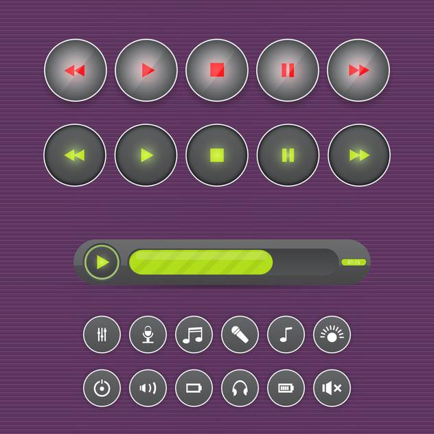 Vector set of media buttons on purple background - бесплатный vector #130734