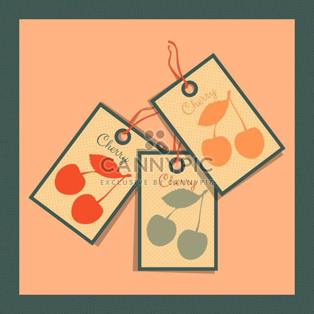 paper tags with cherry on colorful background - Free vector #130744