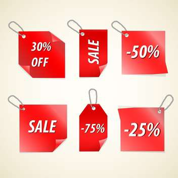 Vector red color sale tags on white background - Free vector #130754