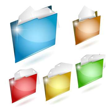 vector illustration of colorful business folders icon set - бесплатный vector #130774