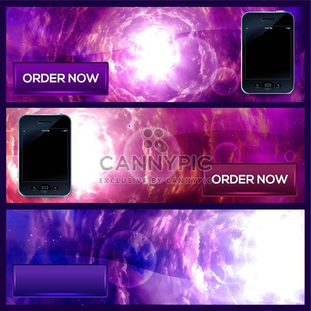 vector illustration of smartphone banners on purple background - Free vector #130804
