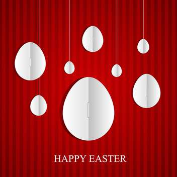 easter card with white eggs on red background - vector gratuit #130824