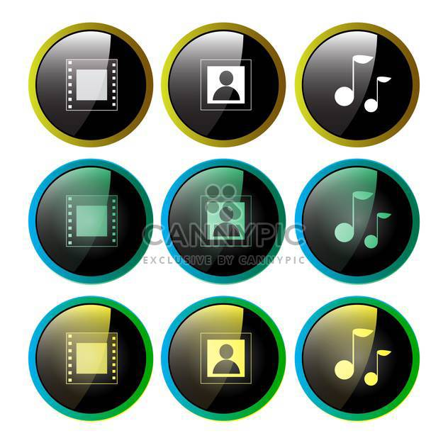 Multimedia icons set photo, video and music - Free vector #130924