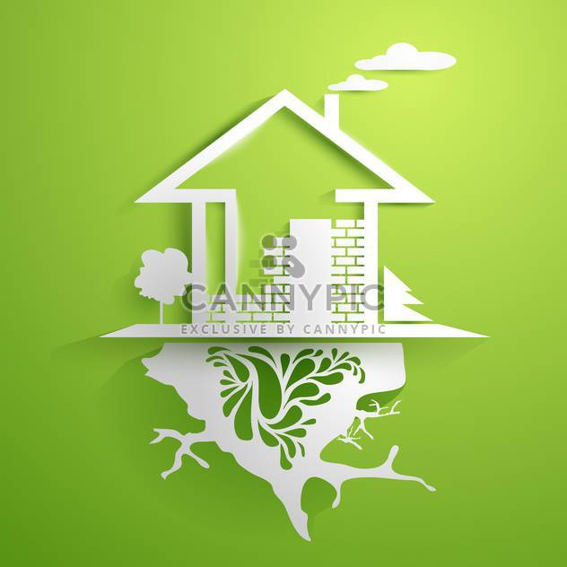 Silver house in green display - Free vector #130954
