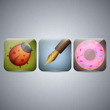 Ladybug, pen and donut icons on grey background - vector gratuit #130984