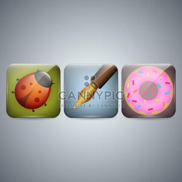 Ladybug, pen and donut icons on grey background - Free vector #130984