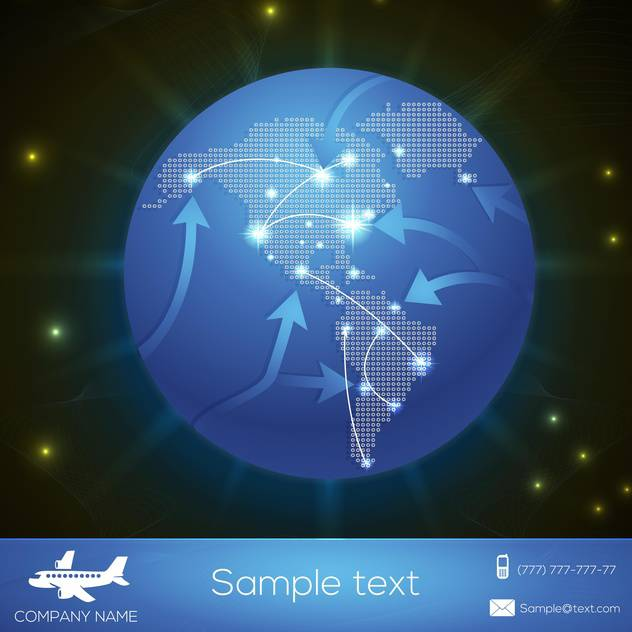 Vector airplane flight paths over earth globe - Free vector #131194