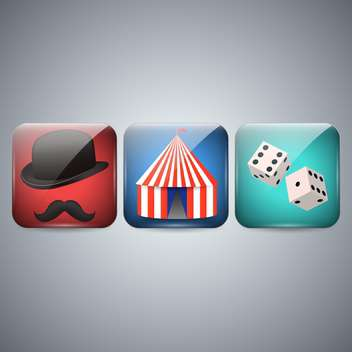 Circus, hat and dice icons on grey background - Free vector #131304