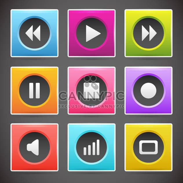 Multimedia buttons interface vector for web design - Free vector #131314