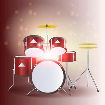 Red drum kit vector illustration - бесплатный vector #131354