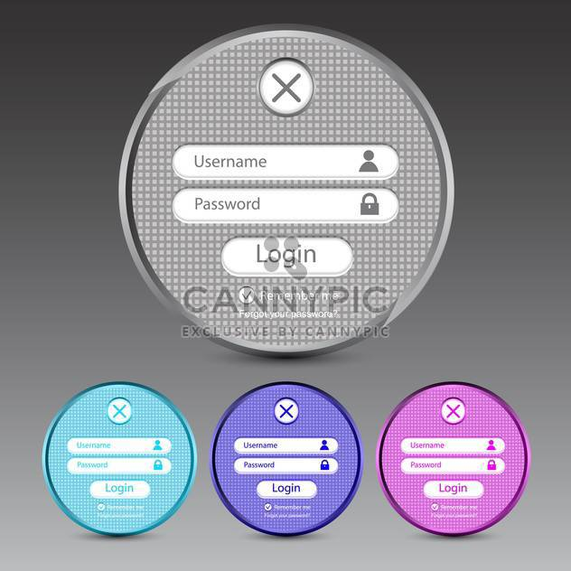 Set of vector login forms on grey background - Free vector #131374