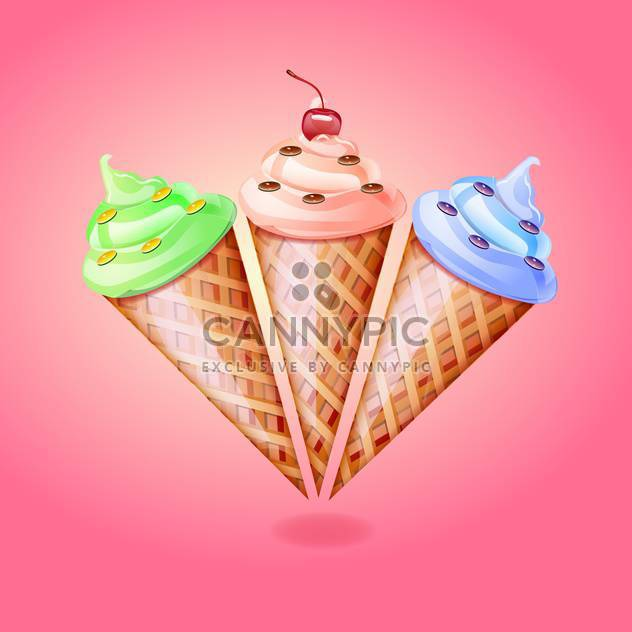 Ice cream cones vector illustration on blue background - Free vector #131504