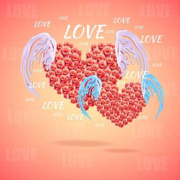 Pink hearts with angel wings vector illustration - Free vector #131524