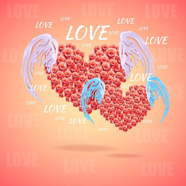 Pink hearts with angel wings vector illustration - бесплатный vector #131524