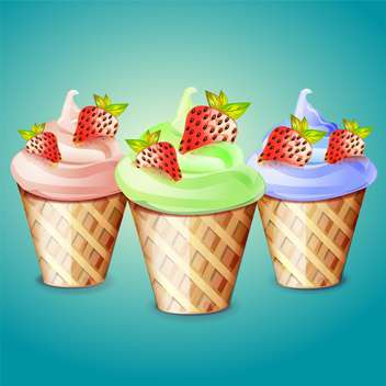 Ice cream cones vector illustration on blue background - Free vector #131534