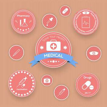 Vector medical icons set in vintage style - vector gratuit #131544
