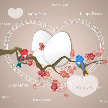 Happy Easter card with birds on the tree - Free vector #131574