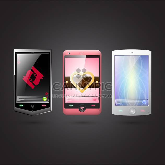Set of vector cell phones on balck background - Free vector #131594