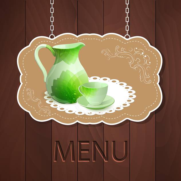 Vector menu template on wooden background - Free vector #131614