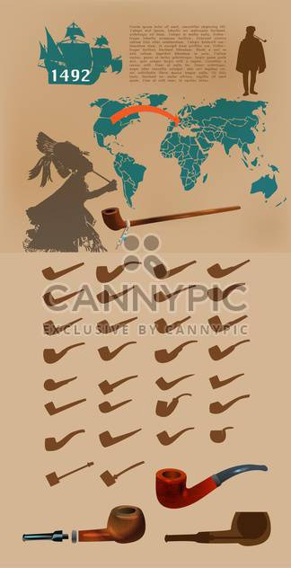Vector infographic elements with smoking pipes. - Free vector #131714