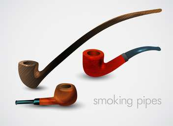 Vector set of smoking pipes on white background - vector gratuit #131764