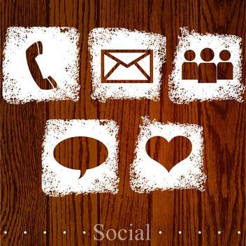 Vector set of web social icons on wooden background - vector #131774 gratis