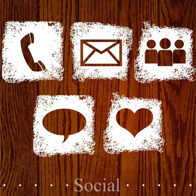 Vector set of web social icons on wooden background - Free vector #131774