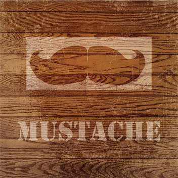 Vector grunge wooden background with mustaches - vector gratuit #131784