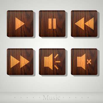 Vector set of wooden media player icons - vector gratuit #131794