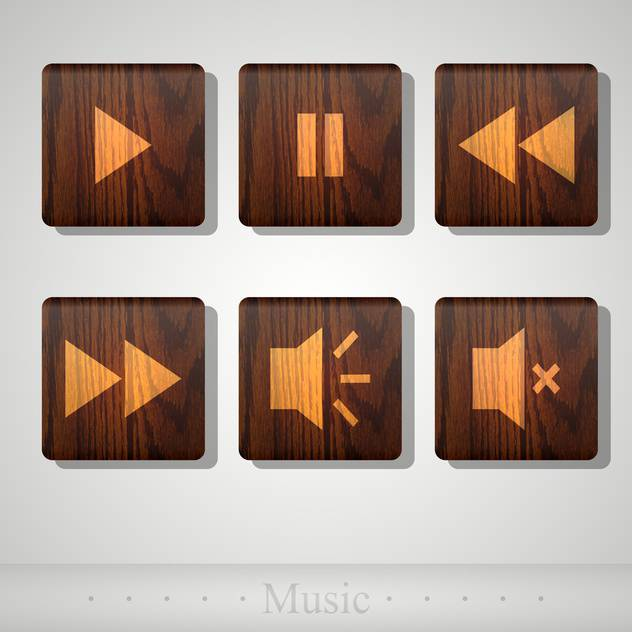 Vector set of wooden media player icons - бесплатный vector #131794