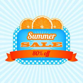 Summer sale icon with orange slices on striped background - vector gratuit #131954