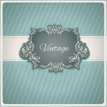 Vintage vector decorative frame on blue striped background - vector #132014 gratis