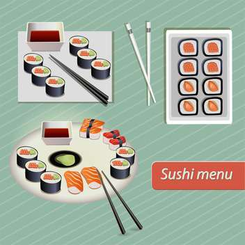 Japanese food sushi vector set on green background - бесплатный vector #132054