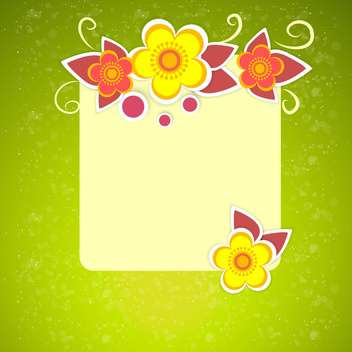 Vector floral frame on green background - vector gratuit #132074