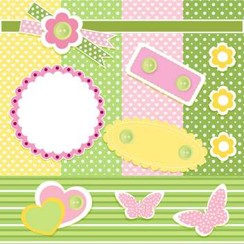 Vector set of cute frames with floral background - vector gratuit #132094