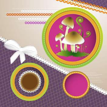 Vector background with frames and mushrooms - vector gratuit #132104