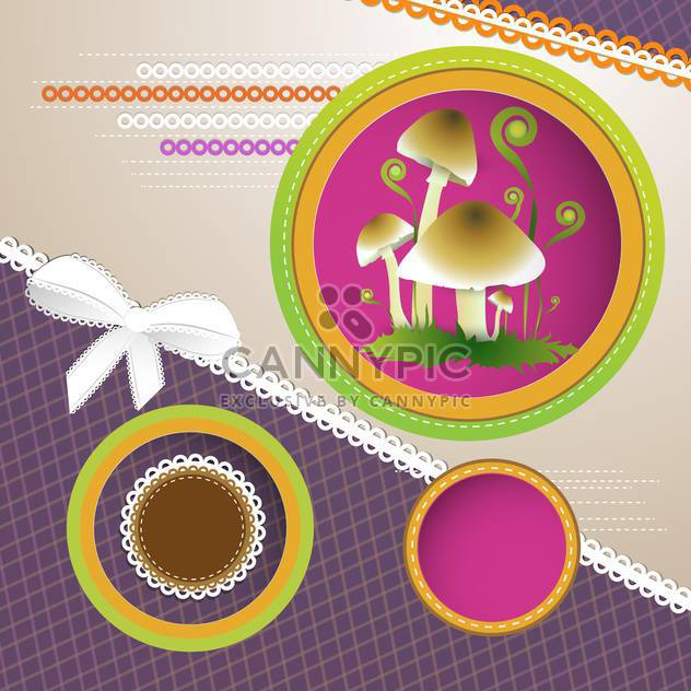Vector background with frames and mushrooms - Free vector #132104