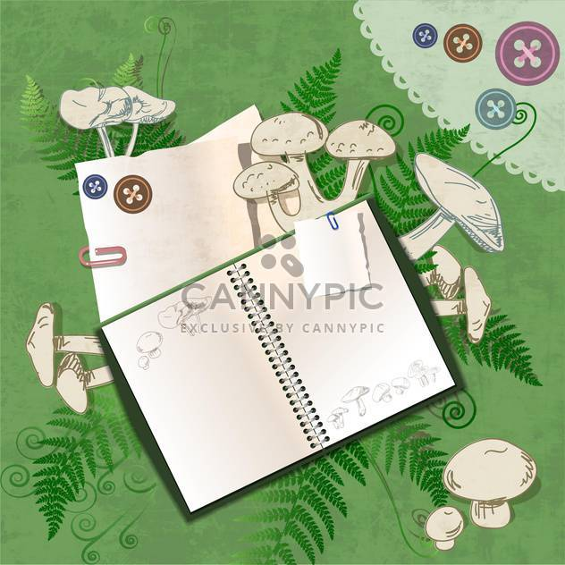 Vector empty notebook on floral green background - Free vector #132154