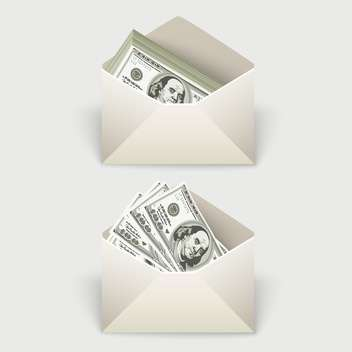 Dollar bills in two envelopes,vector illustration - vector gratuit #132174