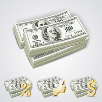 Dollar bills in the package with golden percent , thumbs up and dollar symbols - бесплатный vector #132184