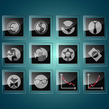 Black business icons and graphs ,vector illustration - Free vector #132214