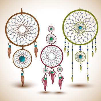 set of dream catchers,vector illustration - vector #132284 gratis