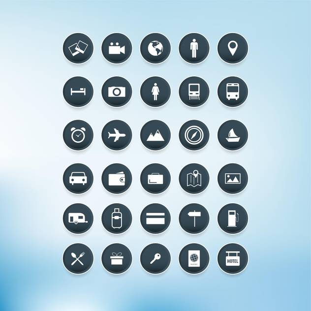 Vector travel icons set on blue background - Free vector #132324