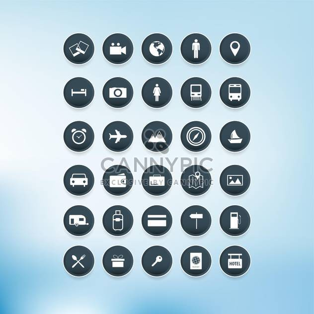 Vector travel icons set on blue background - бесплатный vector #132324