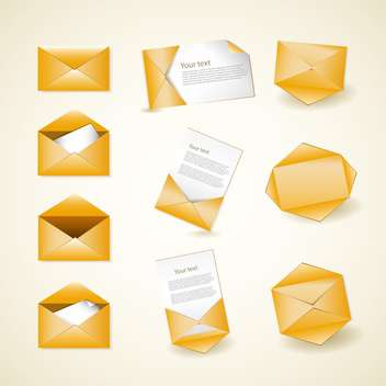 Golden envelope vector icons vector illustration - Free vector #132454