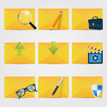 vector correspondence icons with envelopes - vector gratuit #132624